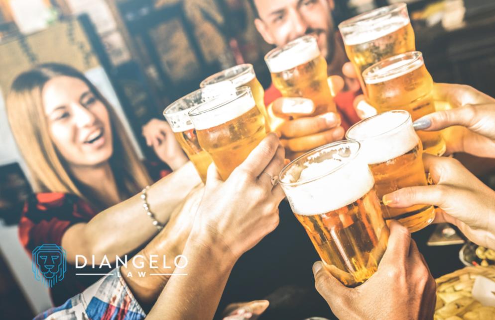 group cheersing beers