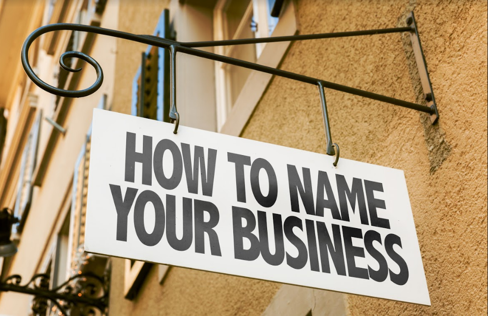 sign that says how to name your business